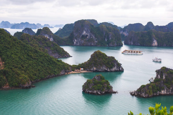 Beautiful view of Halong Bay, Vietnam, UNESCO World Heritage Site, scenic view of islands, Southeast Asia